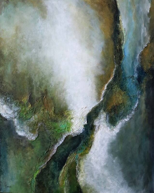 Rivers of Water, River abstract, riverscape painting, blue by Laura Swink